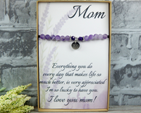 thank you gift for mom engraved bracelet with heartfelt card