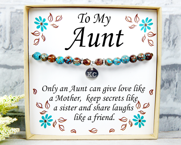 Aunt Gift - Only An Aunt Can Give Hugs Like a Mother - Birthday Gift for Aunt Bracelet