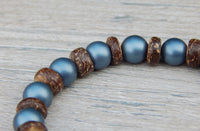 blue beaded bracelet wood jewelry