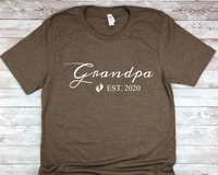 New Grandpa Shirt - Est. 2020 - New Grandfather T-Shirt - First Time Grandpa Gift