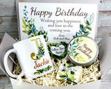 earthy personalized birthday gift basket