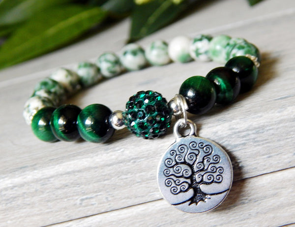 green beaded bracelet tree of life charm