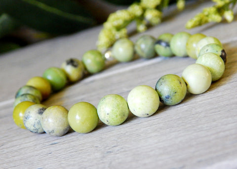 yellow green gemstone beaded bracelet