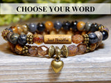 heart bracelet with inspiring word bead
