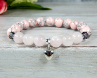 heart charm bracelet with rose quartz gemstone jewelry