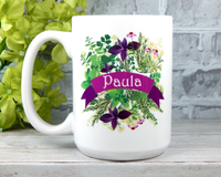 personalized flower mug garden lovers gift herb garden mug