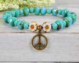 peace bracelet with flower beads