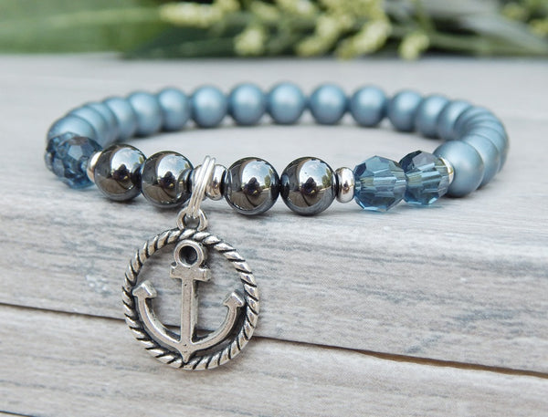 blue anchor beaded pearl bracelet