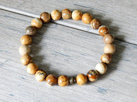brown beaded gemstone bracelet