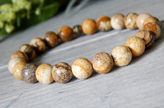 unisex brown picture jasper bracelet