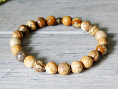 earthy mens womens beaded gemstone bracelet