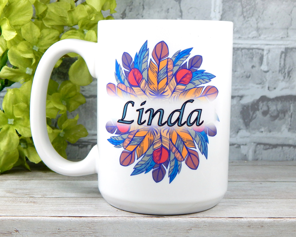 personalized 15 oz. coffee mug with indian feather graphic