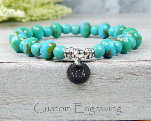 bracelet with engraved initial charm for women
