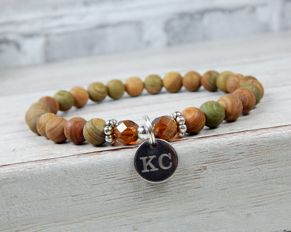 Jasper Engraved Initial Bracelet for Women - Custom Bracelet - Personalized Jewelry for Women