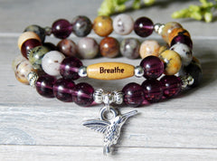 hummingbird bracelet with word bead