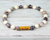 plum and cream beaded gemstone bracelet for women