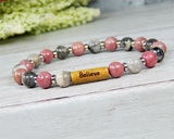 word jewelry pink and gray gemstone bracelet for women