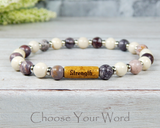 jasper gemstone bracelet with word strength inspirational gift