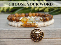 Stacked Boho Sun Bracelets with Inspirational Word, Wood and Yellow Crystals