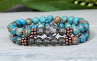smoky quartz bracelet blue beaded jewelry