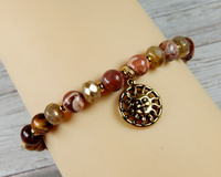 boho beaded bracelet with sun charm sunshine jewelry