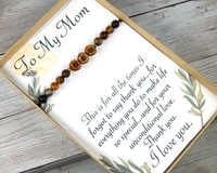 nature bracelet and thank you card for mom