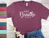 just breathe t-shirt for women yoga shirt