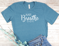 blue just breathe t-shirt for women yoga shirt