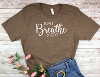 brown just breathe t-shirt for women yoga shirt