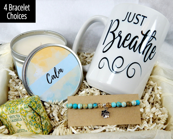 Calming gift box just breathe bracelet for women