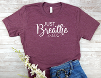 maroon just breathe t-shirt for women yoga shirt