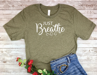 olive army green just breathe t-shirt for women yoga shirt