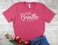 pink just breathe t-shirt for women yoga shirt