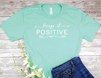 mint green womens t-shirt keep it positive