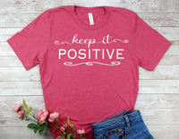 pink keep it positive womens t-shirt inspiring shirts