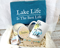lake themed gift basket for lake lover birthday