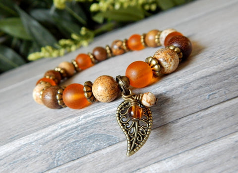 Autumn Bracelet with a Leaf Charm and Natural Stone