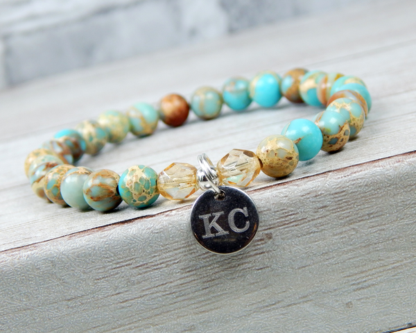 custom engraved jewelry for women light blue jasper bracelet