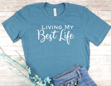 blue shirt living my best life t-shirt inspirational tops women