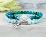 yoga bracelet with lotus flower charm amazonite jewelry