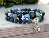 green and blue stacked yoga bracelet
