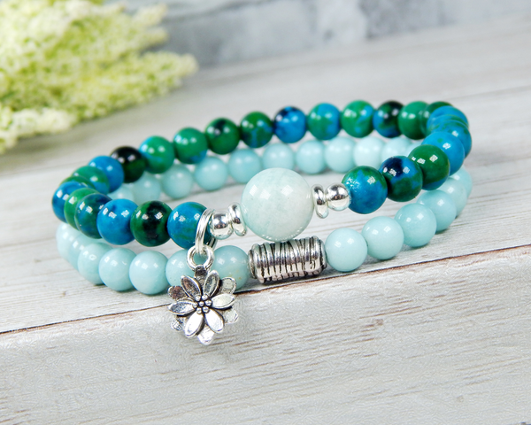 amazonite bracelet with lotus flower charm