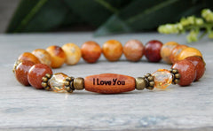 bracelet with word bead or message