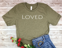 olive army green loved t-shirt for women encouragement shirts