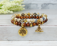 yoga stacked beaded gemstone and wood bracelet
