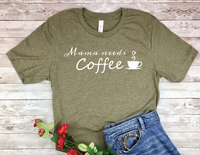 olive army green mama needs coffee shirt new mom busy mother t-shirt