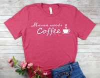 pink mama needs coffee shirt new mom busy mother t-shirt
