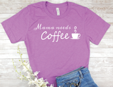 purple mama needs coffee shirt new mom busy mother t-shirt