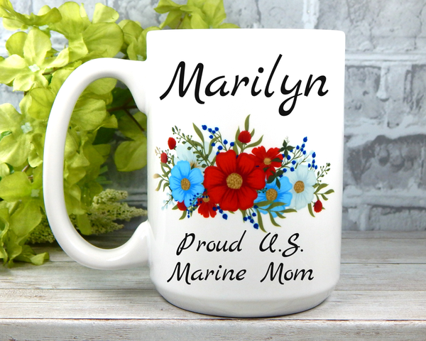 Personalized Marine Mom Mug - Marine Mom Gifts - Military Mugs for Moms