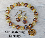matching earrings bracelet yellow crystal sunflower charm